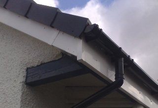 guttering, soffits, fascias, plastic dry verge and eavesguards fitted